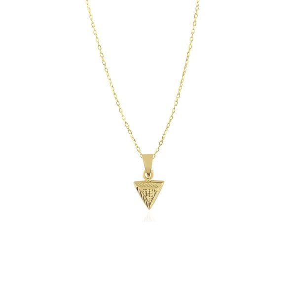 Noemi Triangle 18ct Gold Pendant Charm With A Gold Chain