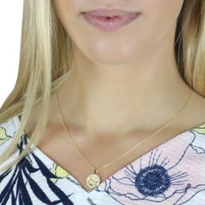 Serena Butterfly 18ct Gold Pendant Charm With A Gold Chain Worn By A Model