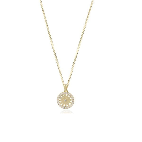 Serena Sunflower 18ct Gold Pendant Charm With Gold Chain