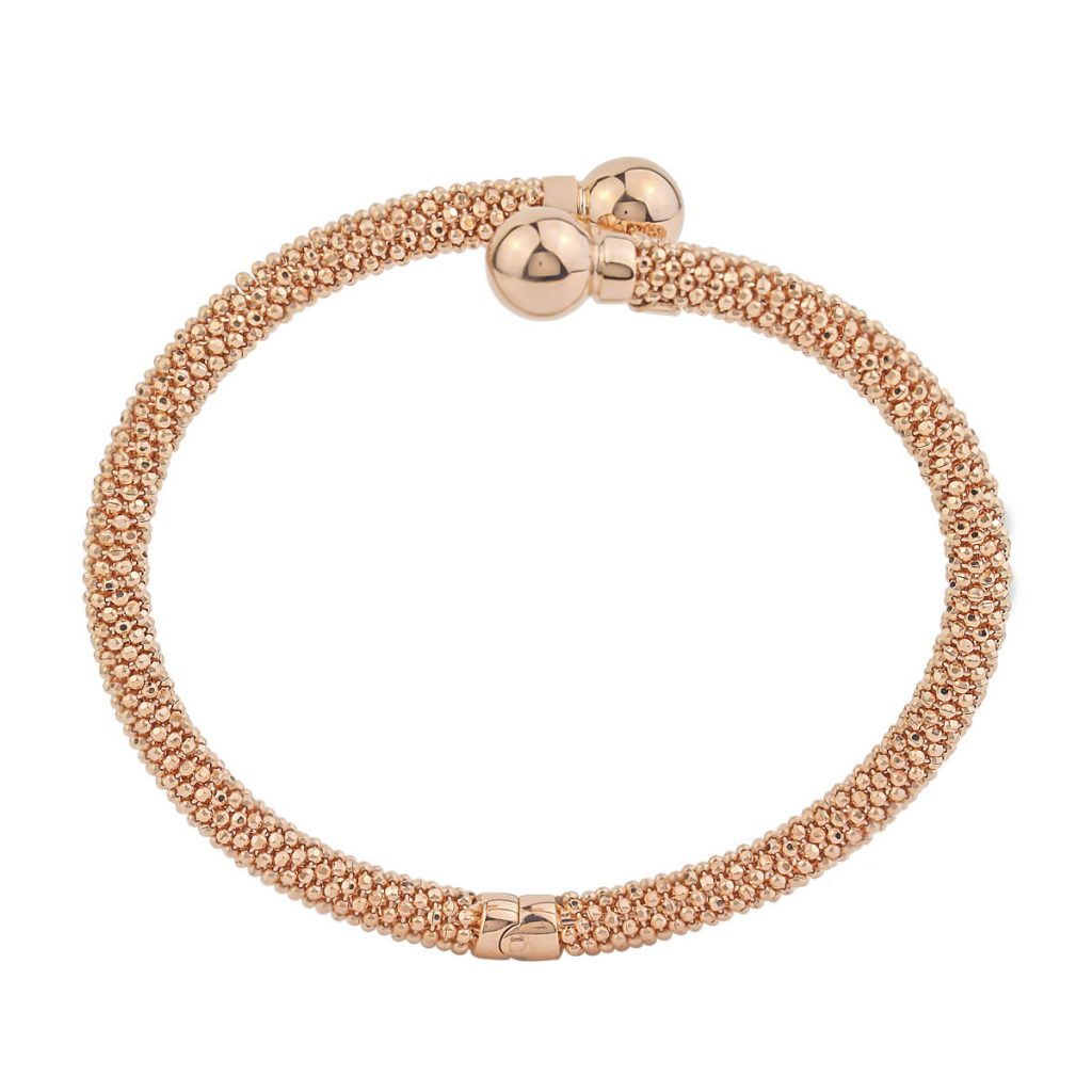 Auric Rose Gold Sterling Silver Ball Twist Bangle