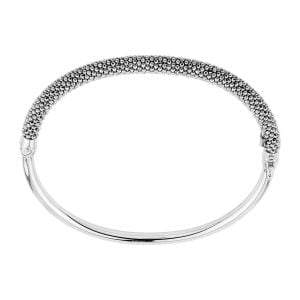 Auric White Silver Thin Bangle Bracelet