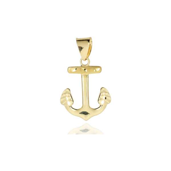 Solid 18ct Yellow Gold Anchor Pendant