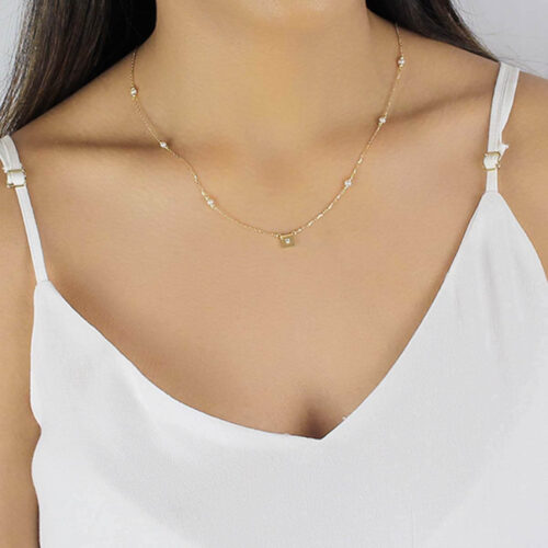 18ct gold jewellery necklace with pearl