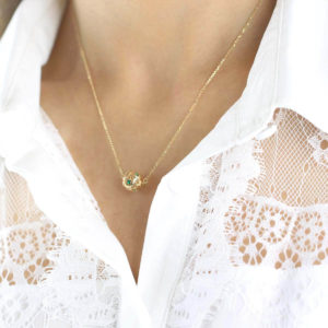 Aria Green gemstone 18ct Gold Pendant Necklace