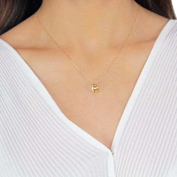 Gia Double ring Love 18ct Gold Pendant Necklace
