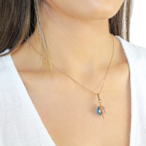Auric Rose Silver Necklace -Blue Gemstone