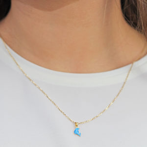 Aria Blue Dolphin 18ct Gold Pendant Charm