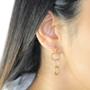 Cali 18ct Three Tone Gold Circle Drop Earrings