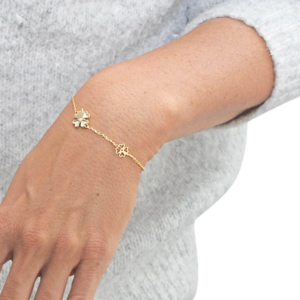 Auric Four-leaf Clover 18ct Gold Chain Bracelet in Pearl
