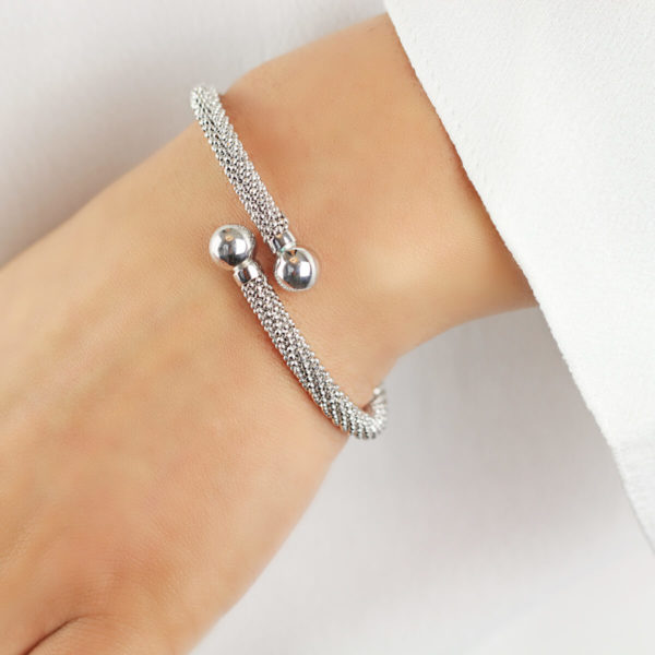 Auric Sterling Silver Ball Twist Bangle