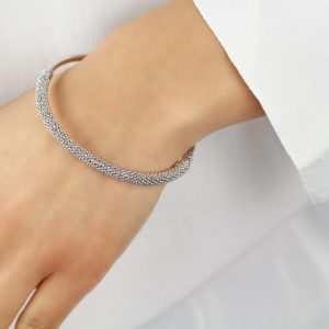 Auric White Sterling Silver Bangle Bracelet