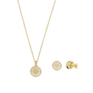 Sunflower 18ct Yellow Gold Pendant and Earring Necklace Set copy