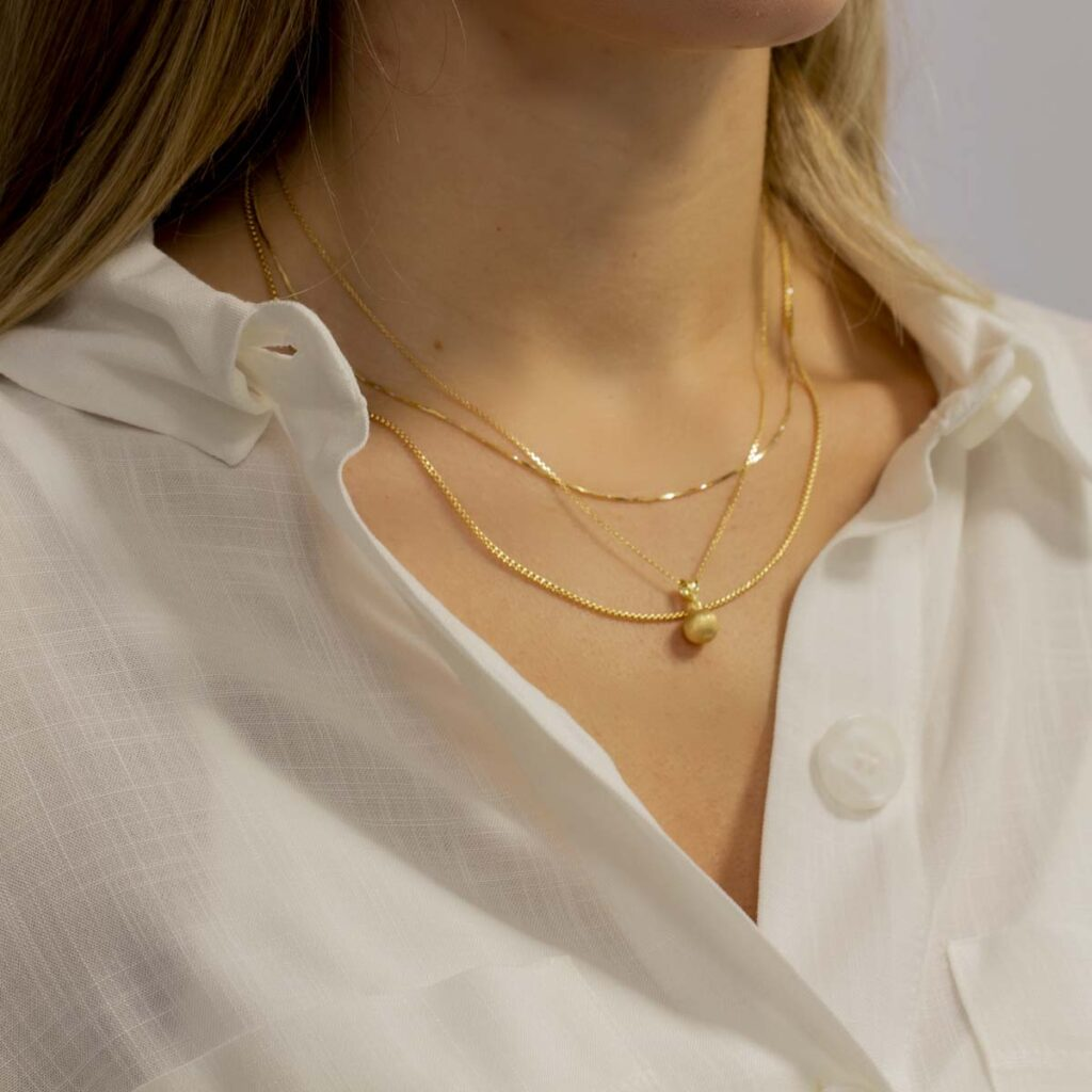 18ct Gold Ball Chain Necklace Set