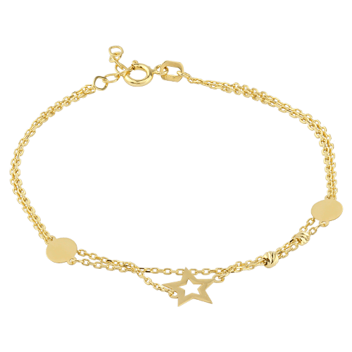 18ct Yellow Gold Bracelet Stars- Valentines Gift For Her