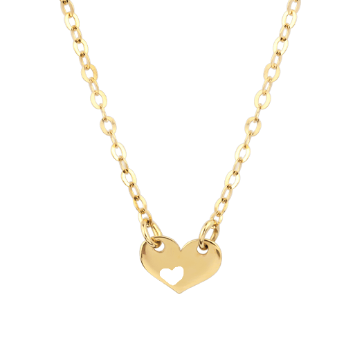 18ct Yellow Gold Love Heart Pendant Necklace for her Valentines
