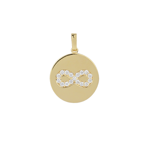 18ct Yellow Gold Medallion Disc Infinity Pendant
