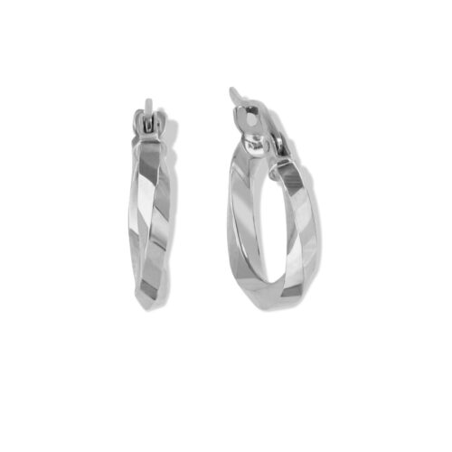18ct White Gold Creole Earrings