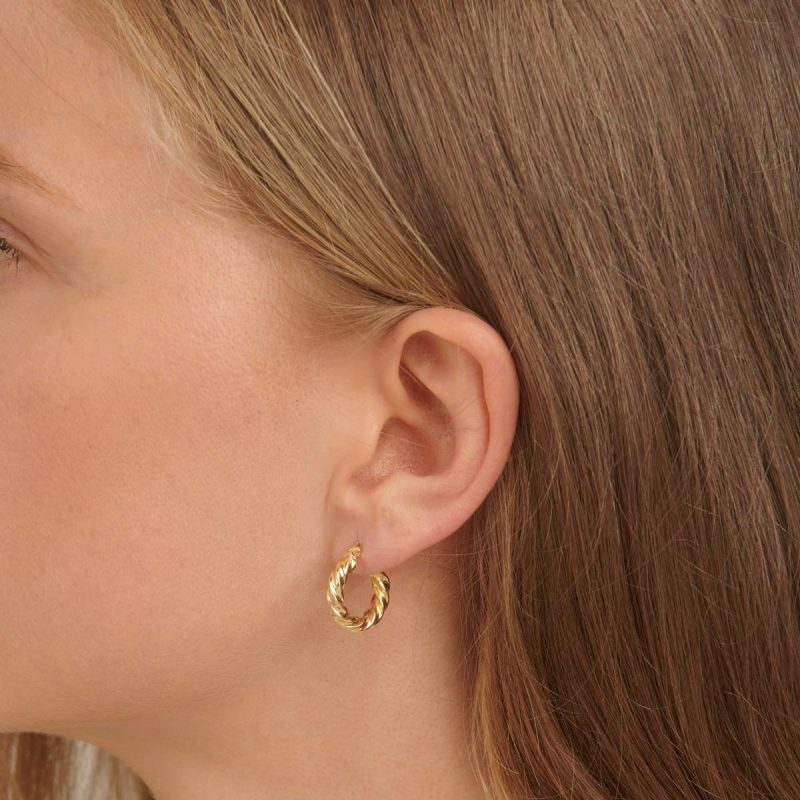 18ct Dome Hoop Earrings in Yellow Gold