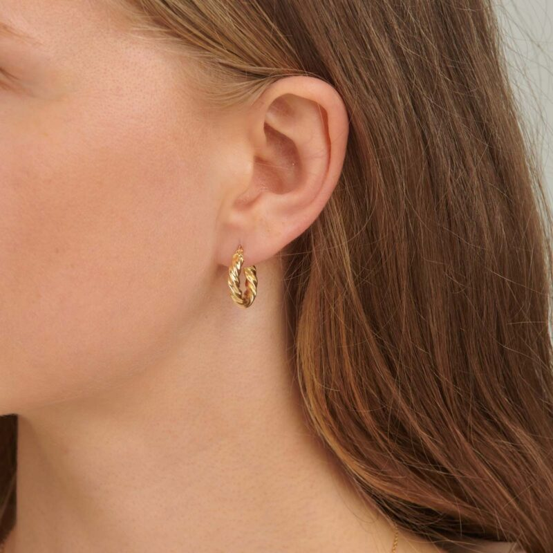 18ct Gold Croissant Dome Hoop Earrings
