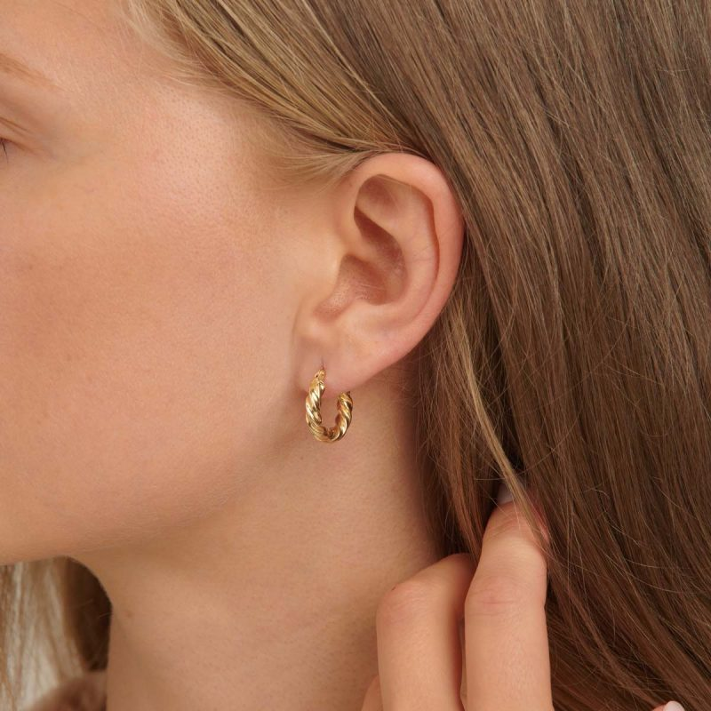 18ct Yellow Gold Dome Croissant Hoop Earrings