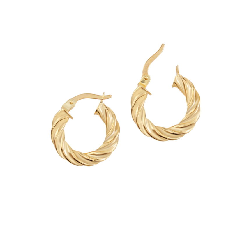 18ct Yellow Gold Dome Hoop Earrings